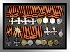 Collection of St George's Crosses and medals.